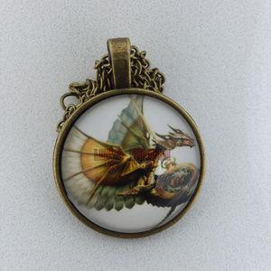 Vintage Steampunk Dragon Glass Cabochon Necklace